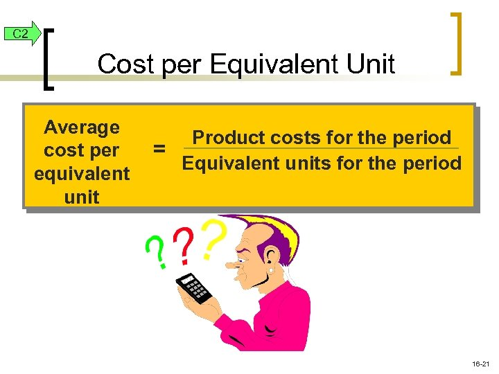 C 2 Cost per Equivalent Unit Average cost per equivalent unit Product costs for