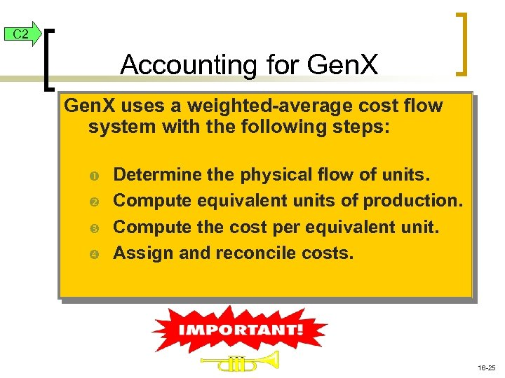 C 2 Accounting for Gen. X uses a weighted-average cost flow system with the