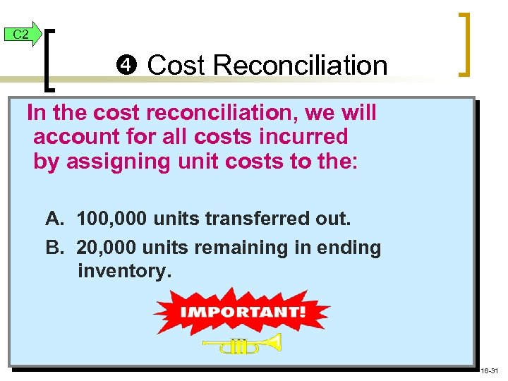 C 2 Cost Reconciliation In the cost reconciliation, we will account for all costs