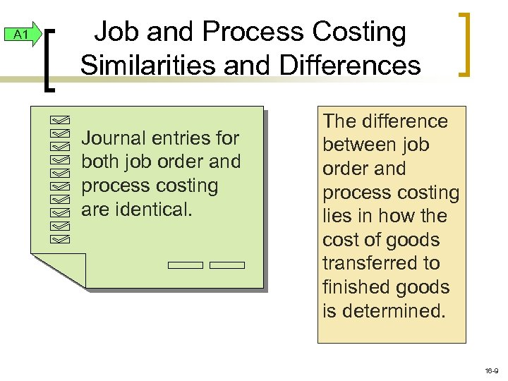 A 1 Job and Process Costing Similarities and Differences Journal entries for both job