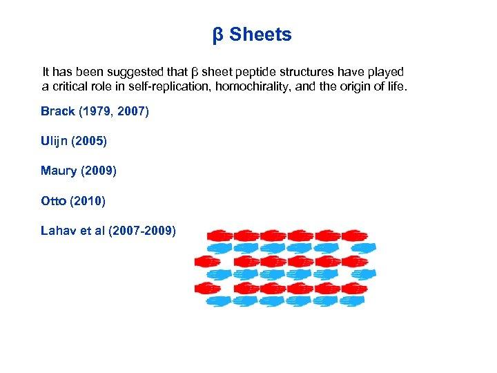 β Sheets It has been suggested that β sheet peptide structures have played a
