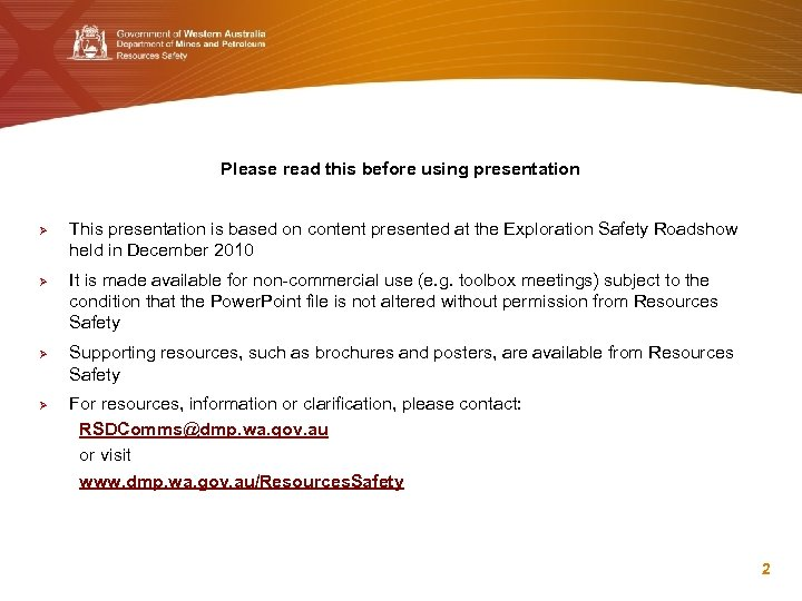 Please read this before using presentation Ø Ø This presentation is based on content