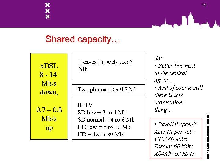 13 x. DSL 8 - 14 Mb/s down, 0. 7 – 0. 8 Mb/s