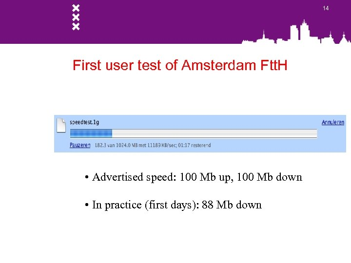 14 First user test of Amsterdam Ftt. H • Advertised speed: 100 Mb up,
