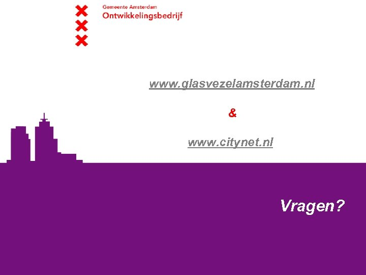 www. glasvezelamsterdam. nl & www. citynet. nl Vragen?
