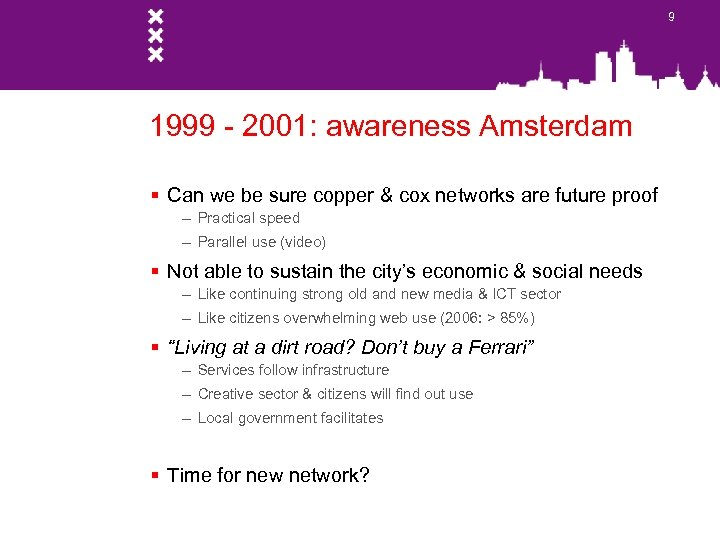 9 1999 - 2001: awareness Amsterdam § Can we be sure copper & cox