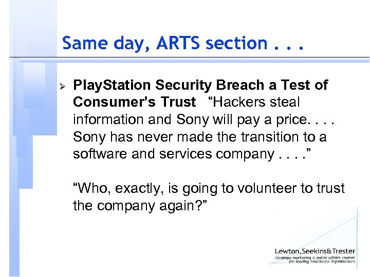 Same day, ARTS section. . . Ø Play. Station Security Breach a Test of
