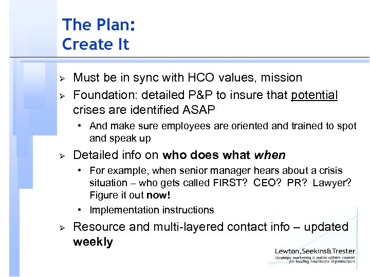 The Plan: Create It Ø Ø Must be in sync with HCO values, mission