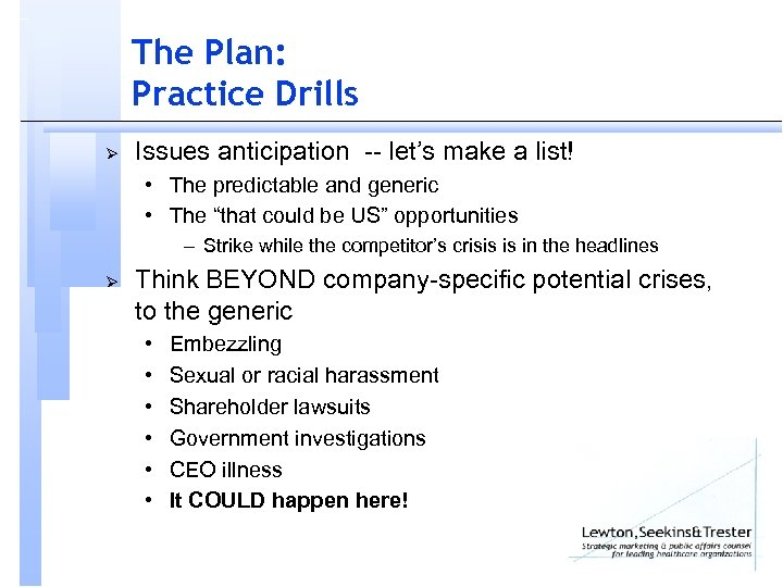 The Plan: Practice Drills Ø Issues anticipation -- let's make a list! • The