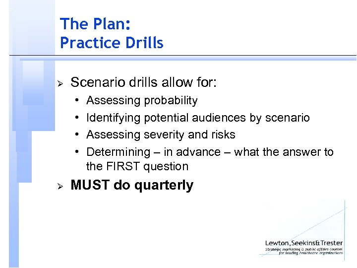 The Plan: Practice Drills Ø Scenario drills allow for: • • Ø Assessing probability