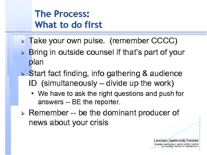 The Process: What to do first Ø Ø Ø Take your own pulse. (remember