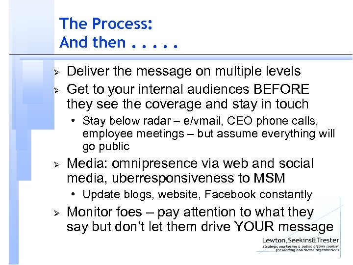 The Process: And then. . . Ø Ø Deliver the message on multiple levels
