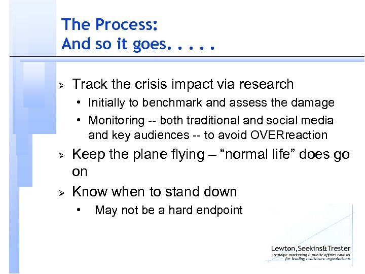 The Process: And so it goes. . . Ø Track the crisis impact via