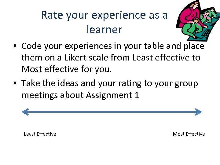 Rate your experience as a learner • Code your experiences in your table and