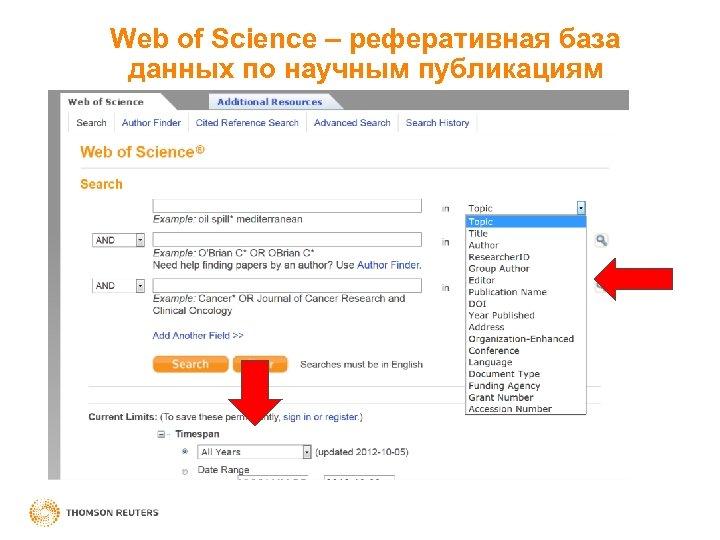 Web of Science – реферативная база данных по научным публикациям