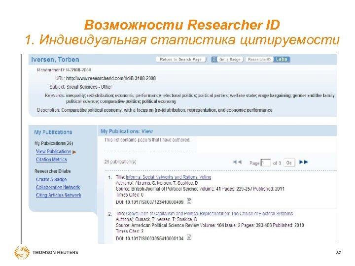 Возможности Researcher ID 1. Индивидуальная статистика цитируемости 32