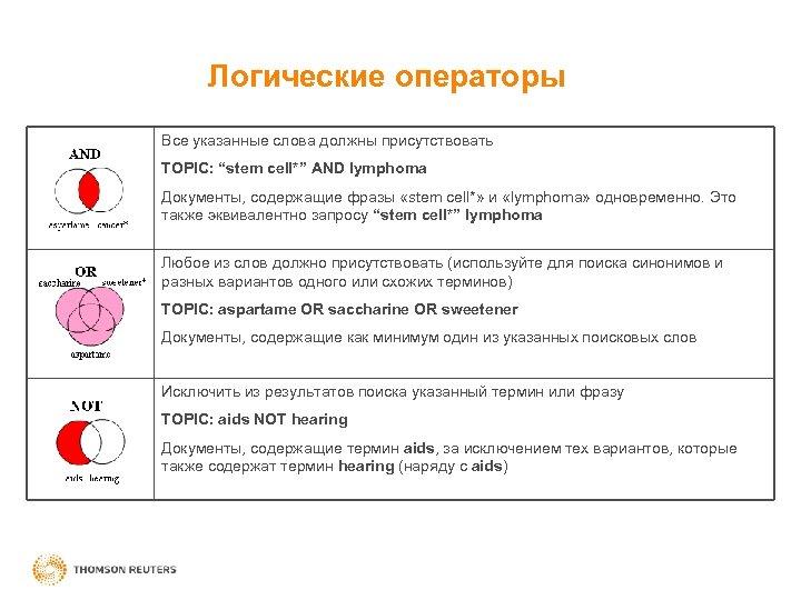 """Логические операторы Все указанные слова должны присутствовать TOPIC: """"stem cell*"""" AND lymphoma Документы, содержащие"""