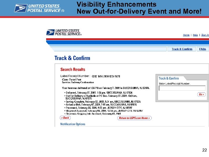 Visibility Enhancements New Out-for-Delivery Event and More! 22