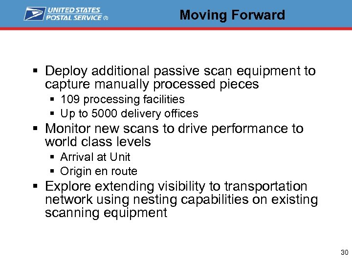 Moving Forward § Deploy additional passive scan equipment to capture manually processed pieces §