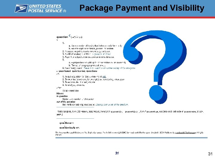 Package Payment and Visibility 31 31
