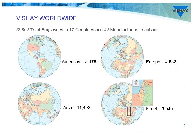 VISHAY WORLDWIDE 22, 602 Total Employees in 17 Countries and 42 Manufacturing Locations Americas