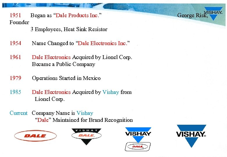 "1951 Began as ""Dale Products Inc. "" Founder 3 Employees, Heat Sink Resistor 1954"