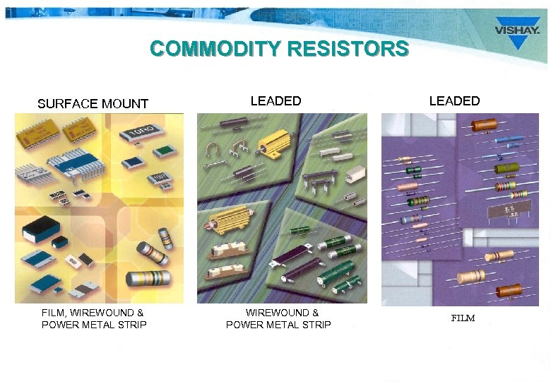COMMODITY RESISTORS SURFACE MOUNT LEADED FILM, WIREWOUND & POWER METAL STRIP LEADED FILM