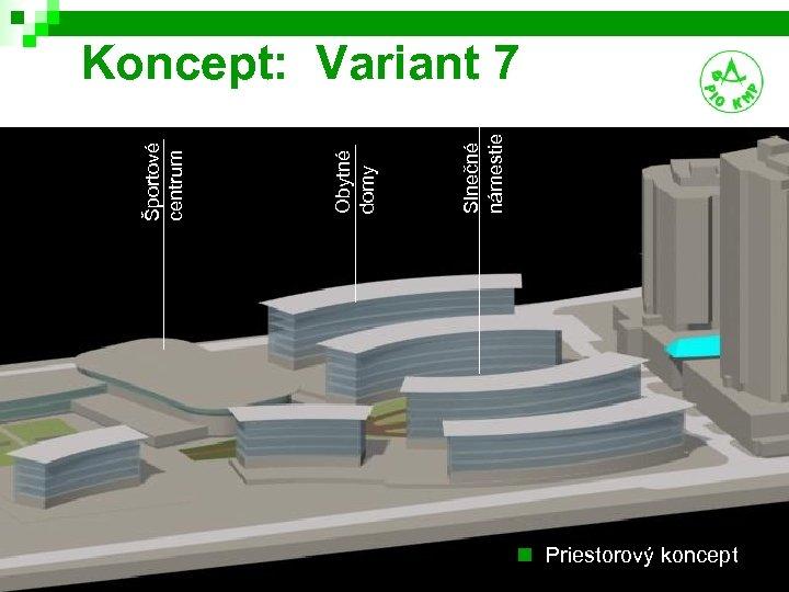 Slnečné námestie Obytné domy Športové centrum Koncept: Variant 7 n Priestorový koncept 14