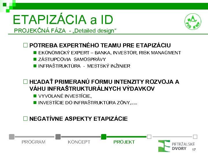 """ETAPIZÁCIA a ID PROJEKČNÁ FÁZA - """"Detailed design"""" ¨ POTREBA EXPERTNÉHO TEAMU PRE ETAPIZÁCIU"""