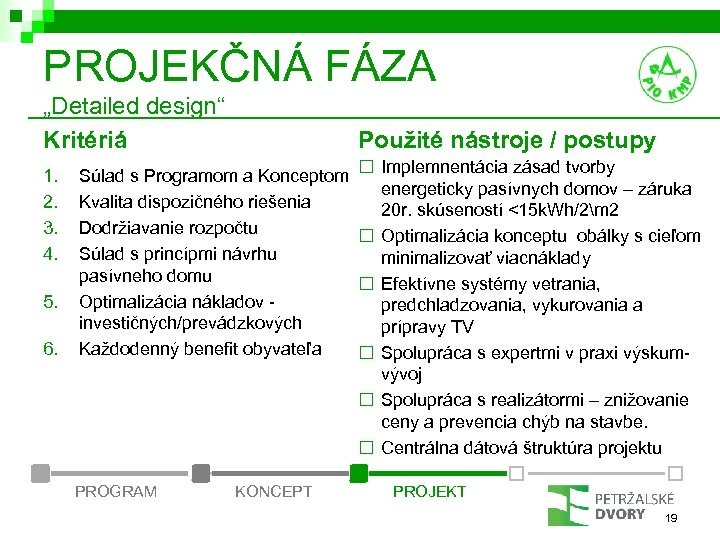 """PROJEKČNÁ FÁZA """"Detailed design"""" Kritériá 1. 2. 3. 4. 5. 6. Použité nástroje /"""