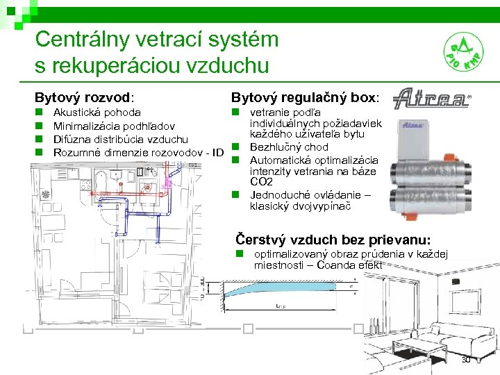 Centrálny vetrací systém s rekuperáciou vzduchu Bytový rozvod: n n Bytový regulačný box: Akustická