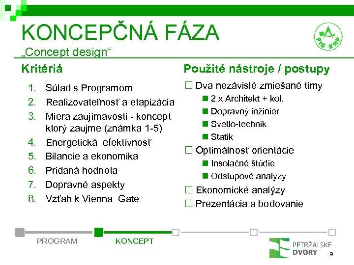 """KONCEPČNÁ FÁZA """"Concept design"""" Kritériá Použité nástroje / postupy ¨ Dva nezávislé zmiešané tímy"""