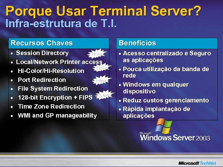 Porque Usar Terminal Server? Infra-estrutura de T. I. Recursos Chaves Session Directory New Local/Network