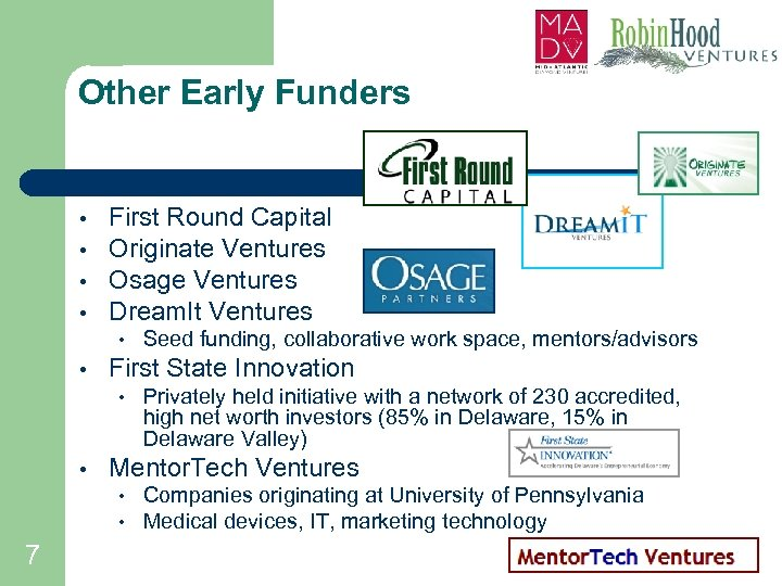 Other Early Funders • • First Round Capital Originate Ventures Osage Ventures Dream. It