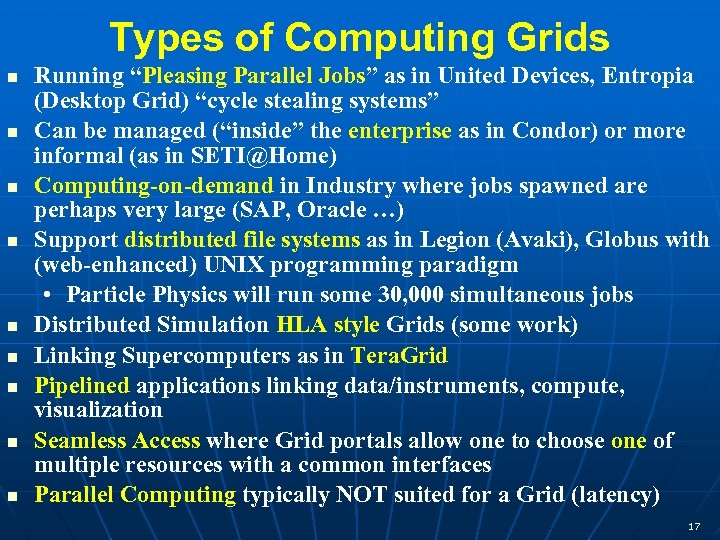 """Types of Computing Grids Running """"Pleasing Parallel Jobs"""" as in United Devices, Entropia (Desktop"""