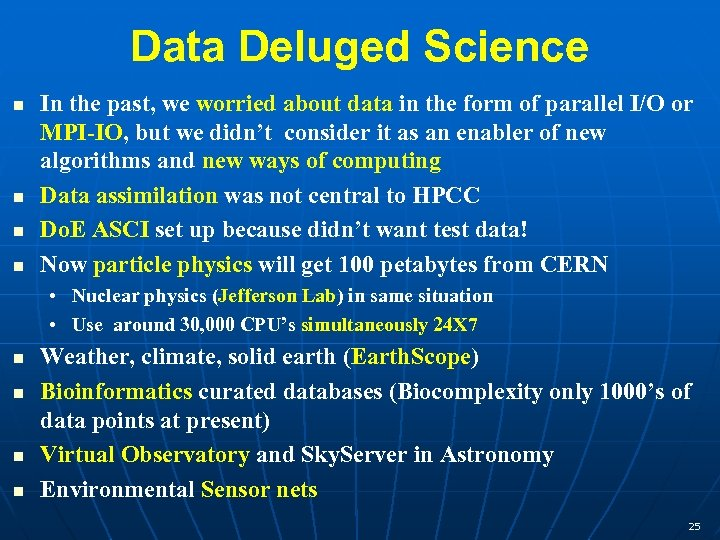 Data Deluged Science In the past, we worried about data in the form of