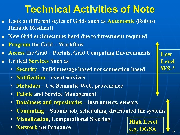 Technical Activities of Note Look at different styles of Grids such as Autonomic (Robust