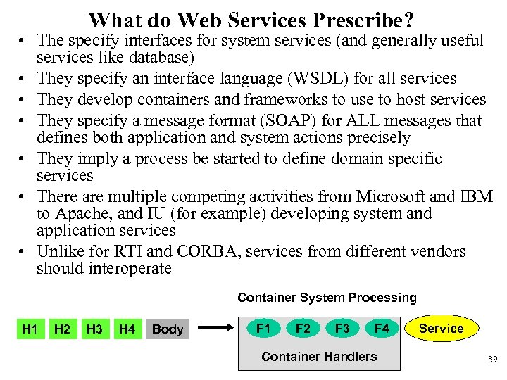 What do Web Services Prescribe? • The specify interfaces for system services (and generally
