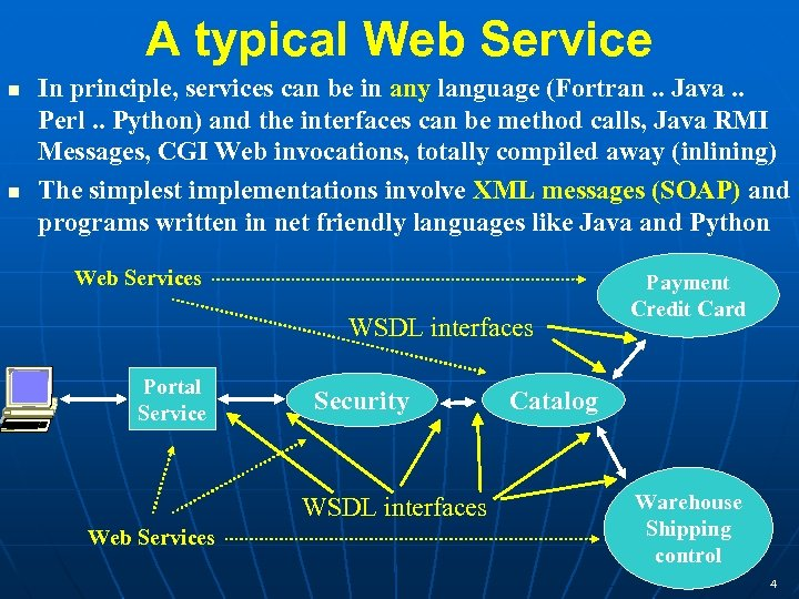 A typical Web Service In principle, services can be in any language (Fortran. .