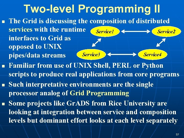 Two-level Programming II The Grid is discussing the composition of distributed services with the
