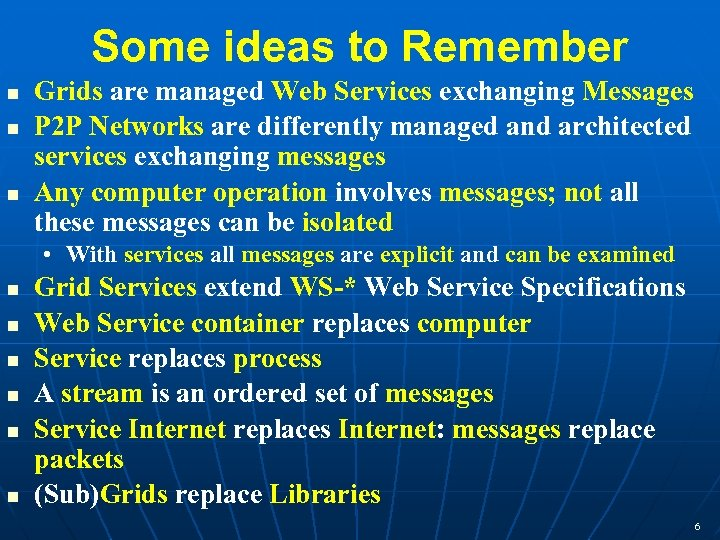 Some ideas to Remember Grids are managed Web Services exchanging Messages P 2 P