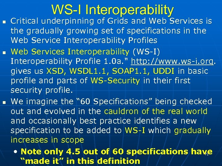 WS-I Interoperability Critical underpinning of Grids and Web Services is the gradually growing set