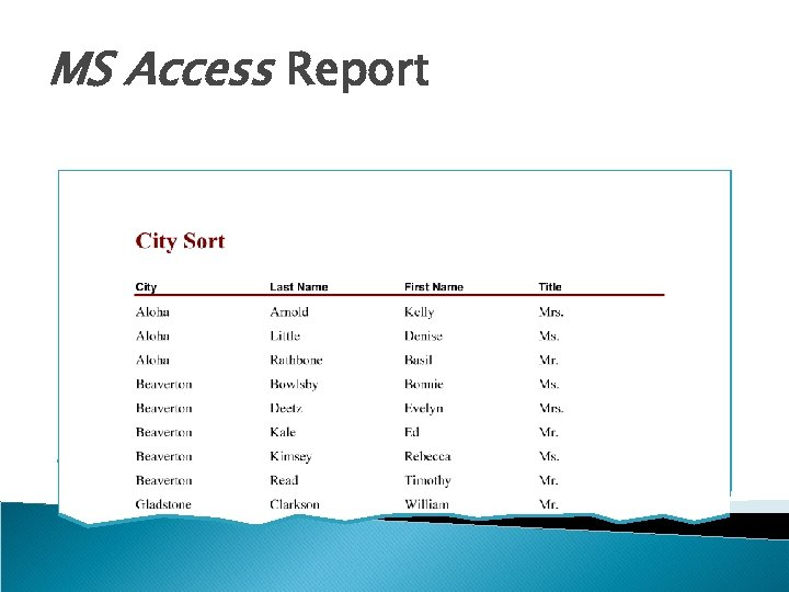 MS Access Report