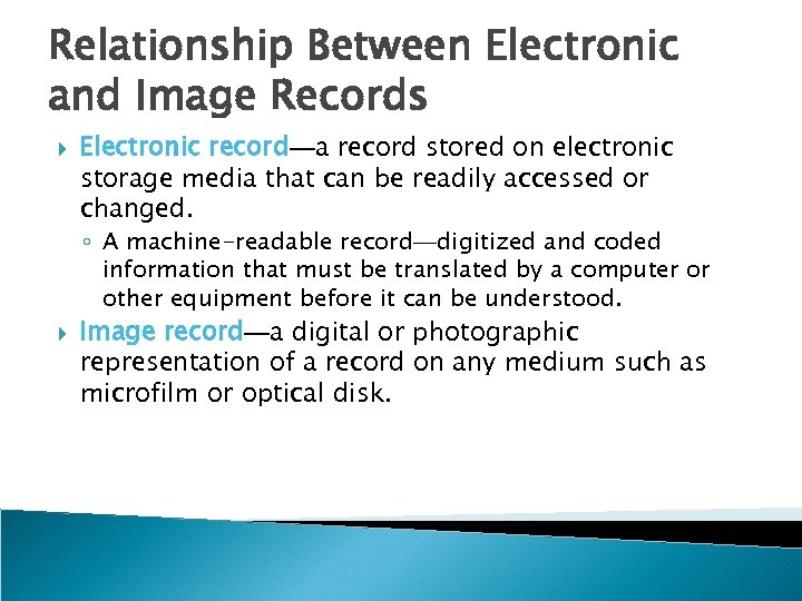 Relationship Between Electronic and Image Records Electronic record—a record stored on electronic storage media