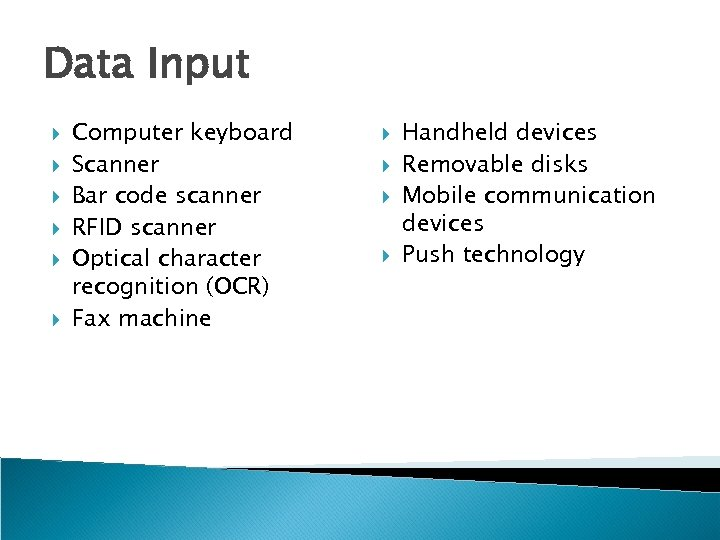 Data Input Computer keyboard Scanner Bar code scanner RFID scanner Optical character recognition (OCR)