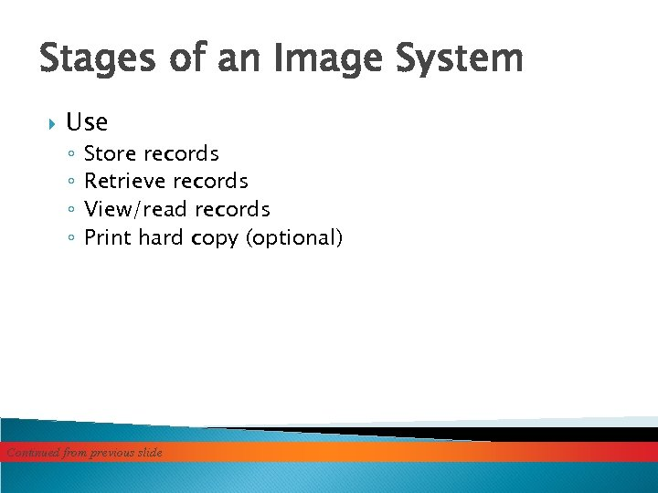 Stages of an Image System Use ◦ ◦ Store records Retrieve records View/read records
