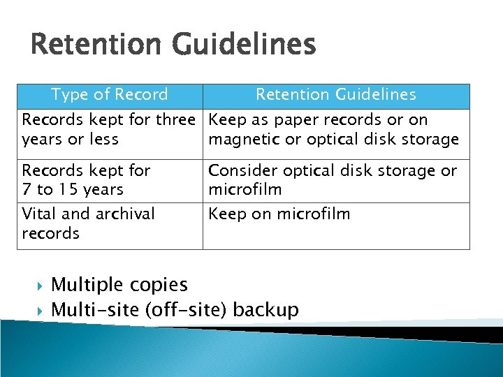 Retention Guidelines Type of Record Retention Guidelines Records kept for three Keep as paper