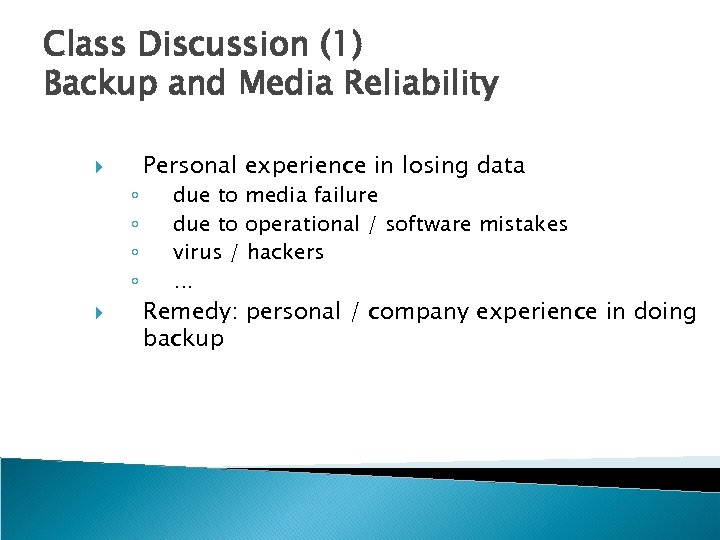 Class Discussion (1) Backup and Media Reliability ◦ ◦ Personal experience in losing data
