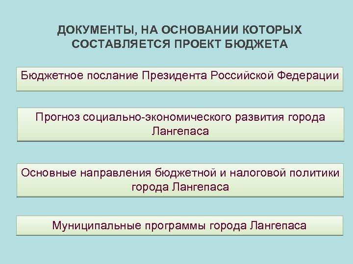 ДОКУМЕНТЫ, НА ОСНОВАНИИ КОТОРЫХ СОСТАВЛЯЕТСЯ ПРОЕКТ БЮДЖЕТА Бюджетное послание Президента Российской Федерации Прогноз социально-экономического
