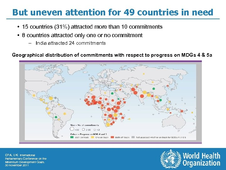 But uneven attention for 49 countries in need • 15 countries (31%) attracted more
